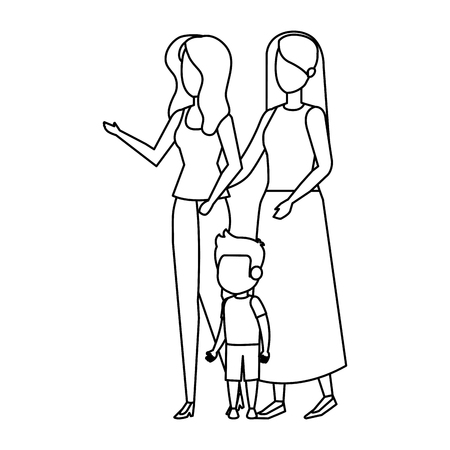 lesbian couple with son vector illustration design