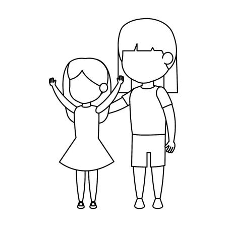 cute little girls couple vector illustration design