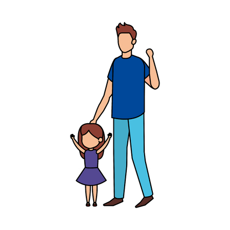 father with daughter characters vector illustration design Çizim