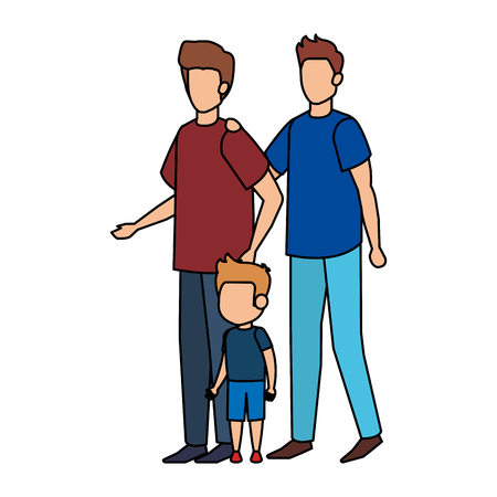 gay couple with son vector illustration design