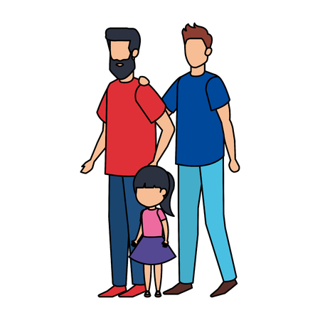 gay couple with daughter vector illustration design