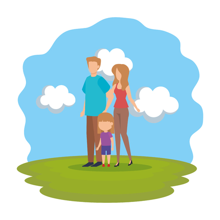 parents couple with daughter in the park vector illustration design