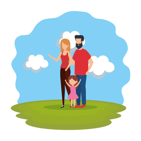 parents couple with daughter in the park vector illustration design Stock Vector - 112469307