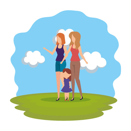 lesbian couple with daughter in the park vector illustration design