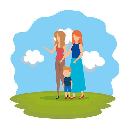 lesbian couple with son in the park vector illustration design Ilustracja