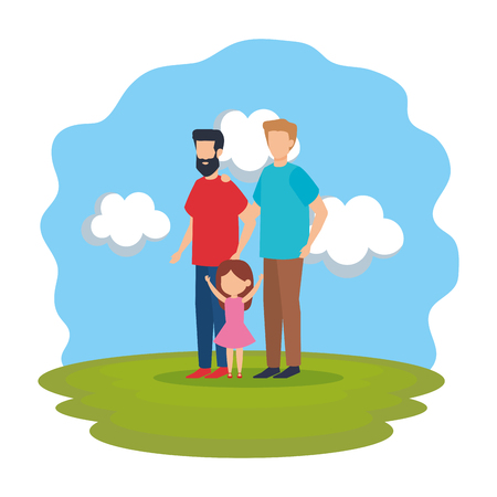 gay couple with daughter in tthe park vector illustration design Illustration