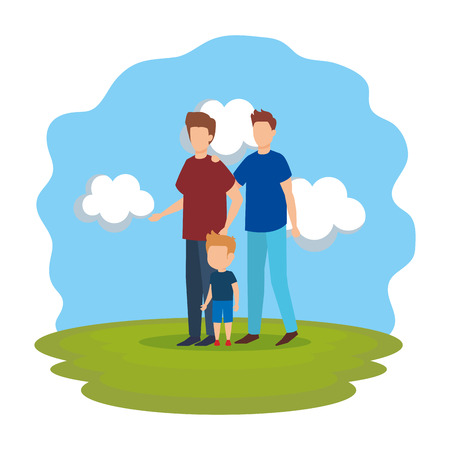gay couple with son in the park vector illustration design
