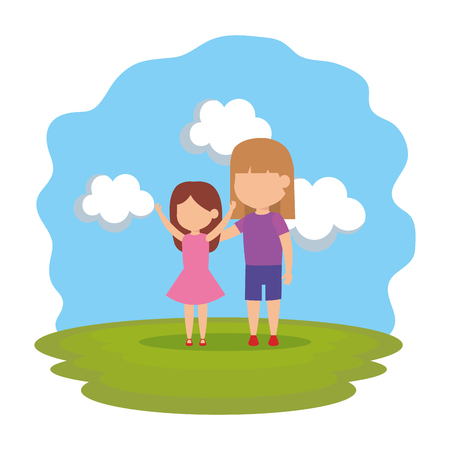 cute little girls couple in the park vector illustration design