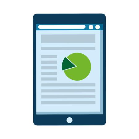 tablet device with statistics vector illustration design