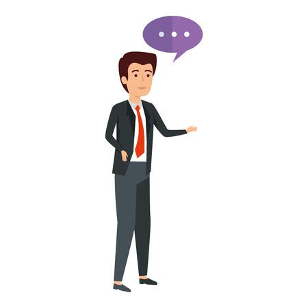 elegant businessman with speech bubble vector illustration design