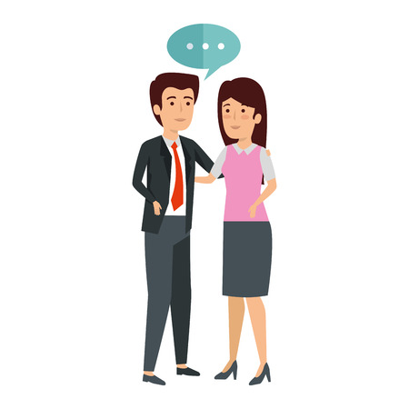 business couple talking avatars characters vector illustration design