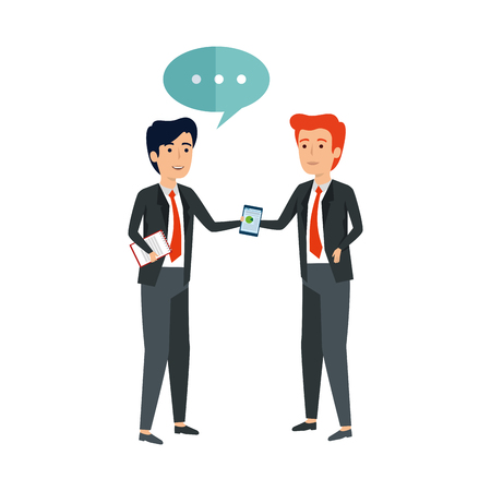 elegant businessmen with speech bubble vector illustration design