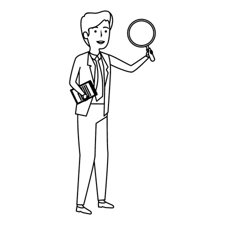 elegant businessman with magnifying glass vector illustration design Иллюстрация