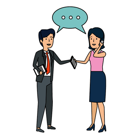 business couple talking with smartphone vector illustration design