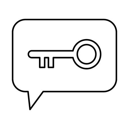 speech bubble with retro key door vector illustration design