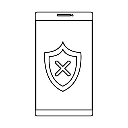 smartphone with shield security vector illustration design