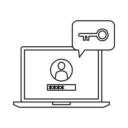 laptop with speech bubble and retro key vector illustration design Archivio Fotografico - 127478207