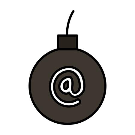 Bomba explosiva con símbolo de arroba, diseño de ilustraciones vectoriales