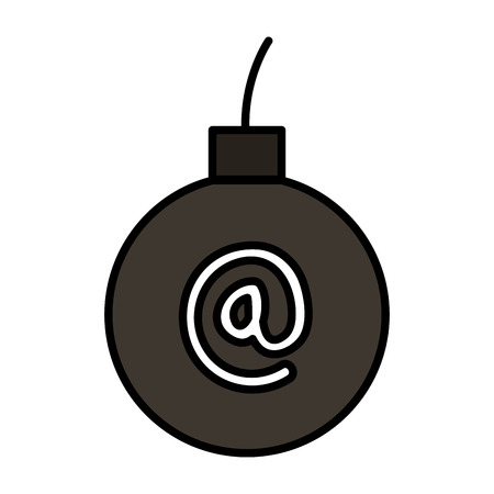 bomb explosive with arroba symbol vector illustration design