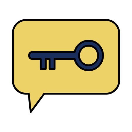 speech bubble with retro key door vector illustration design