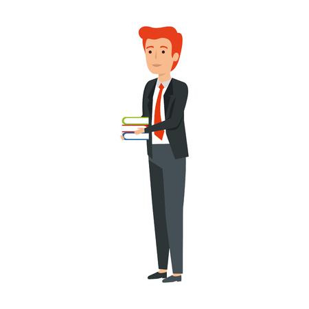 elegant businessman with books vector illustration design Иллюстрация
