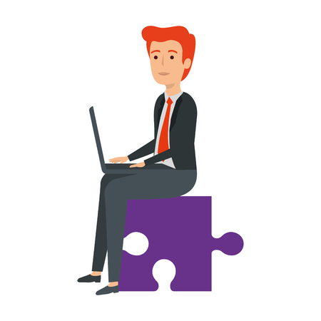 businessman sitting in puzzle piece with laptop vector illustration design