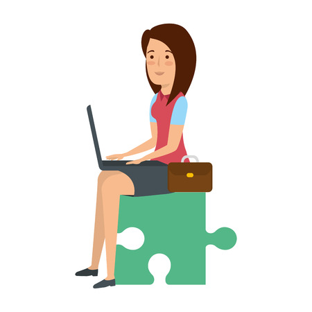 businesswoman sitting in puzzle piece with laptop vector illustration
