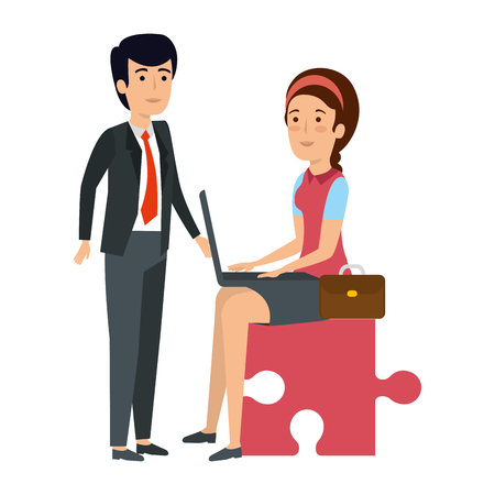 business couple sitting in puzzle piece with laptop vector illustration