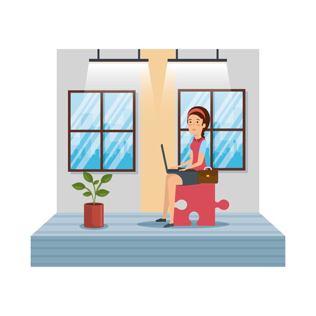 businesswoman with puzzle piece and laptop in workplace vector design Archivio Fotografico - 127478268