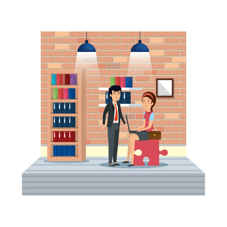 couple with puzzle piece using laptop in workplace vector design Illustration