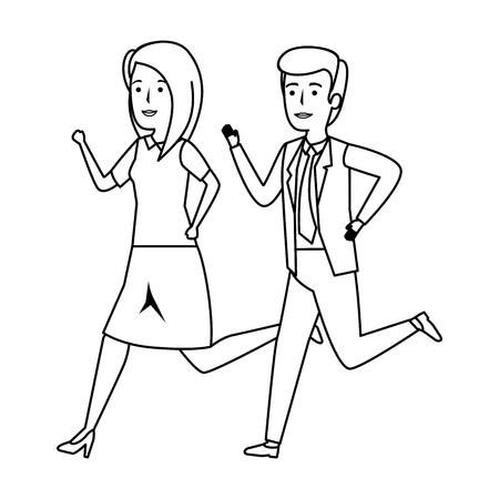 elegant business couple running character vector illustration design