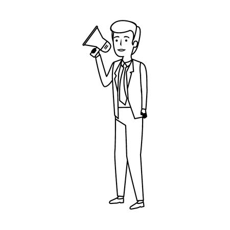 elegant businessman with megaphone vector illustration design