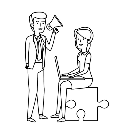 couple sitting in puzzle piece with laptop and megaphone vector design