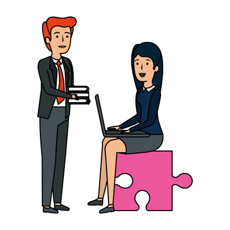 couple sitting in puzzle piece with laptop and books vector illustration 向量圖像