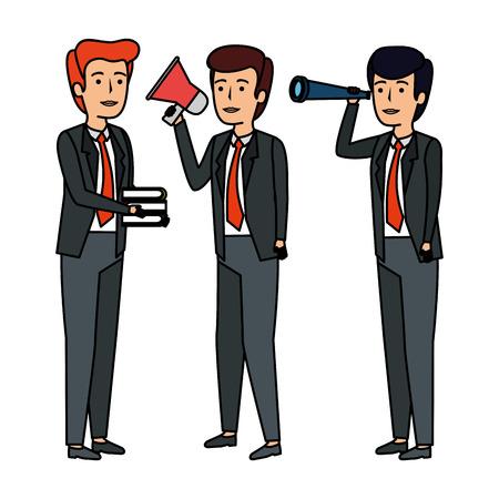 elegant businessmen avatars characters vector illustration design