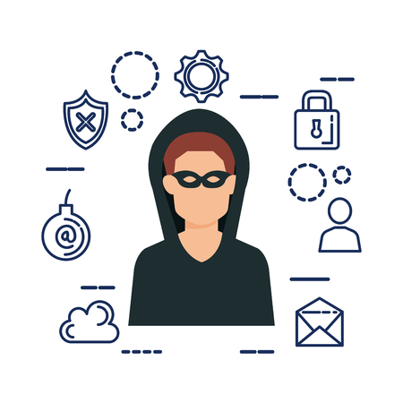 hacker avatar with security set icons vector illustration design