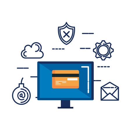 computer with credit card and security icons vector illustration design 矢量图像
