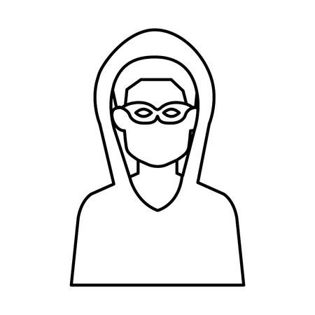hacker avatar character icon vector illustration design