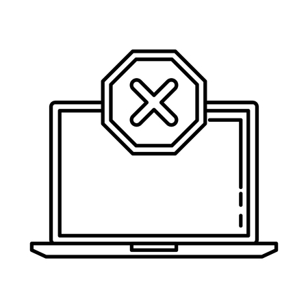 laptop with denied mark icon vector illustration design