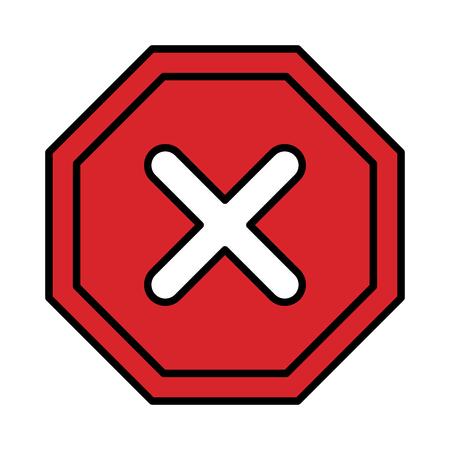 signal with denied mark icon vector illustration design 向量圖像