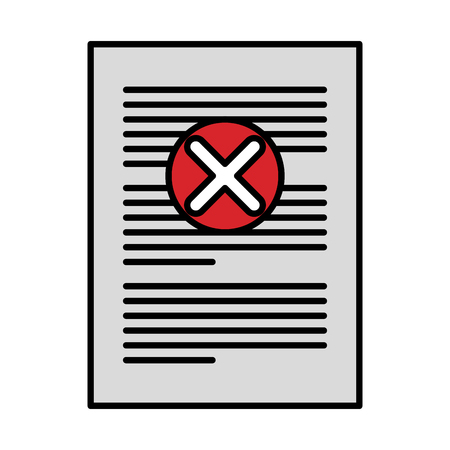 paper with denied mark icon vector illustration design