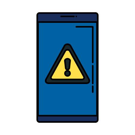 smartphone with alert symbol vector illustration design Ilustrace
