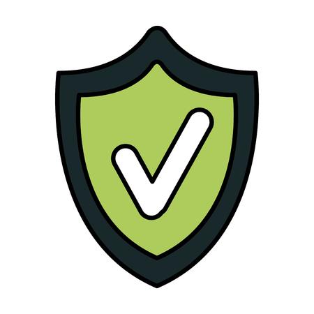 shield security with ok symbol vector illustration design Illustration