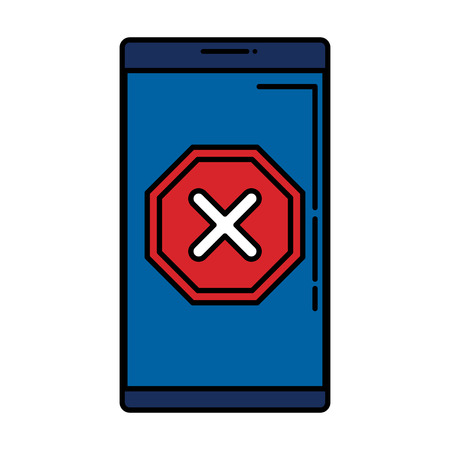 smartphone with denied mark icon vector illustration design