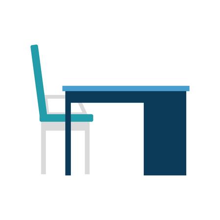 desk and chair office scene vector illustration design