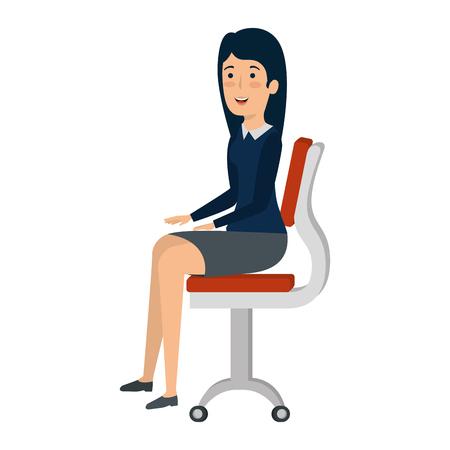 La empresaria sentada en la silla de oficina, diseño de ilustraciones vectoriales de caracteres Ilustración de vector