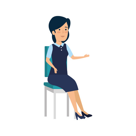 businesswoman sitting in office chair character vector illustration design Çizim