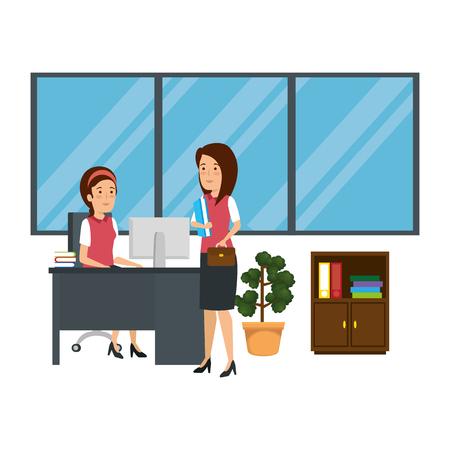 businesswomen in the workplace vector illustration design  イラスト・ベクター素材