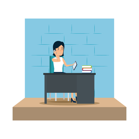 businesswoman in the workplace vector illustration design