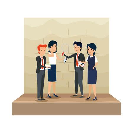 elegant business people in the workplace vector illustration design